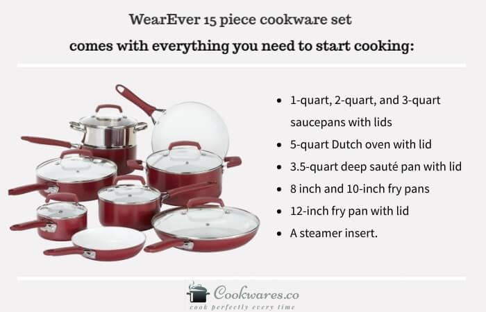 WearEver 2100087606 15 Piece Ceramic Nonstick Cookware Set